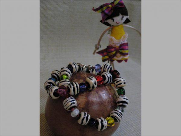 Collar CEBRA, Perlas de Vidrio de Murano