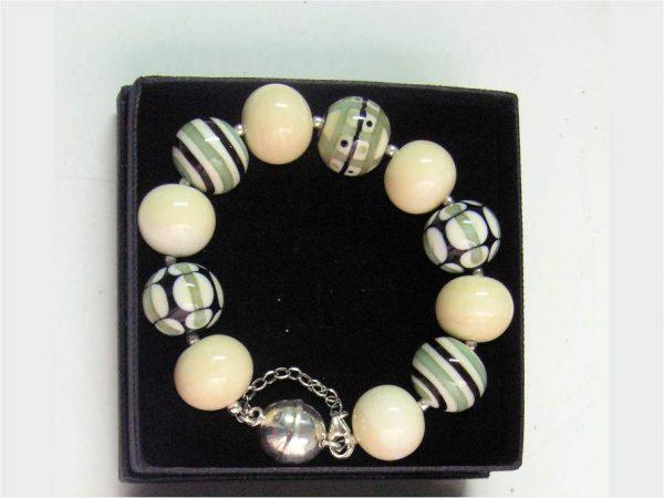 Pulsera Elegance beige, Perlas de Vidrio de Murano