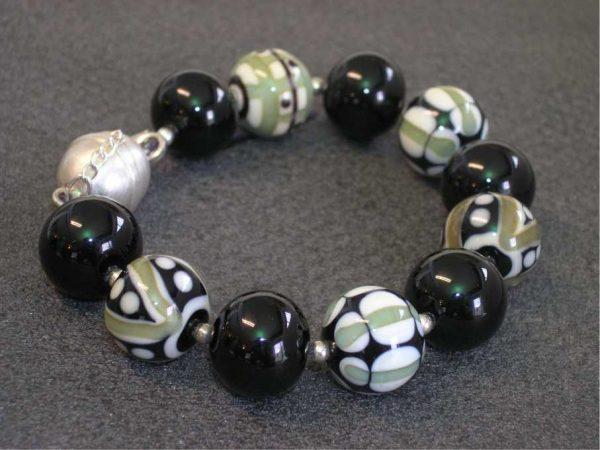 Pulsera Elegance negra, Perlas de Vidrio de Murano