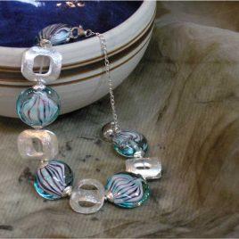 Pulsera TIGER verde mar, Perlas de Vidrio de Murano y Plata de Ley