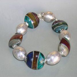 Pulsera CANALES, Perlas de Vidrio de Murano y Plata de Ley