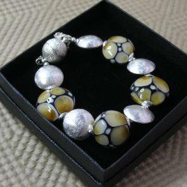 Pulsera SAHARA ámbar, Perlas de Vidrio de Murano y Plata de Ley