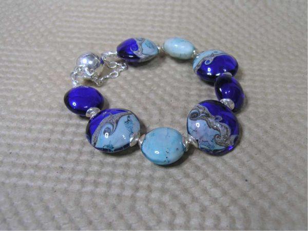 Pulsera OCÉANO, Perlas de Vidrio de Murano y Plata de Ley