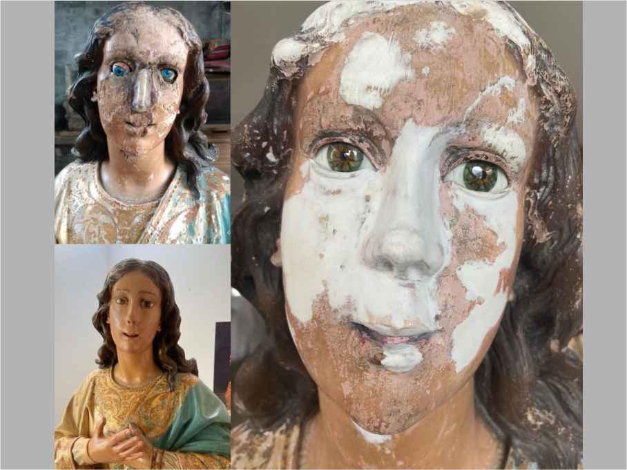 Ojos para la restauración de una talla de «Virgen Inmaculada». Siglo XVIII.